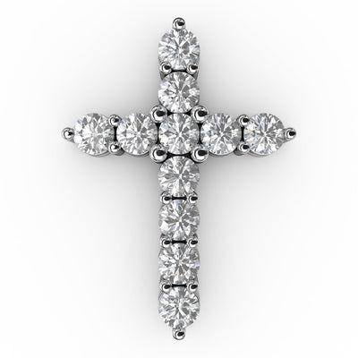 1 CT TW 14k <strong>White Gold</strong> Lab-Grown Diamond Cross Pendant