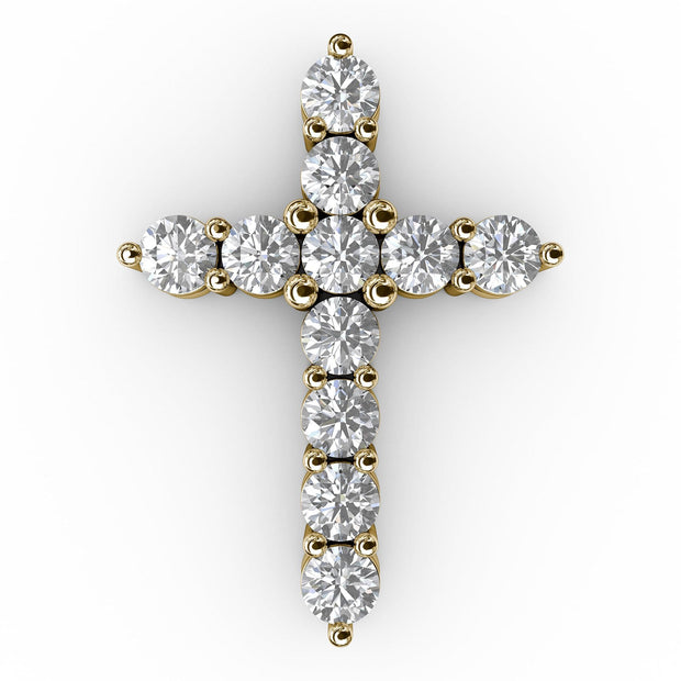 1 CT TW 14k <strong>Yellow Gold</strong> Lab-Grown Diamond Cross Pendant