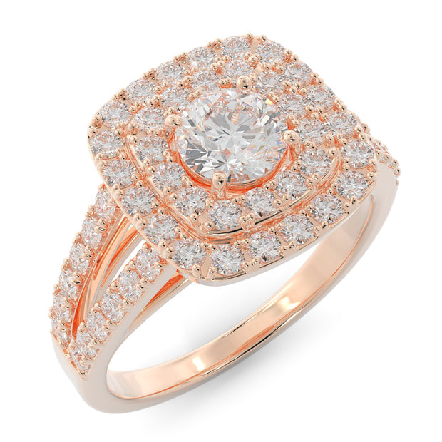 1 ⅓ CT TW 14k <strong>Rose Gold</strong> Double Halo Lab-Grown Diamond Engagement Ring