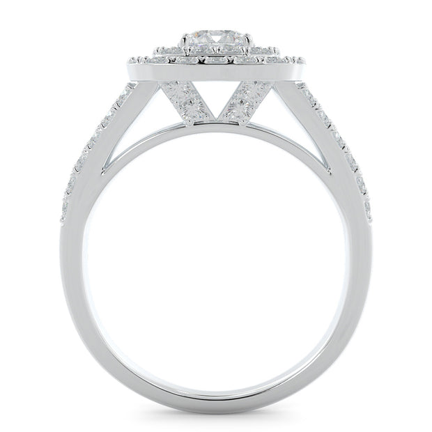 1 ⅓ CT TW 14k <strong>White Gold</strong> Double Halo Lab-Grown Diamond Engagement Ring