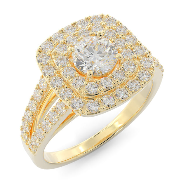 1 ⅓ CT TW 14k <strong>Yellow Gold</strong> Double Halo Lab-Grown Diamond Engagement Ring