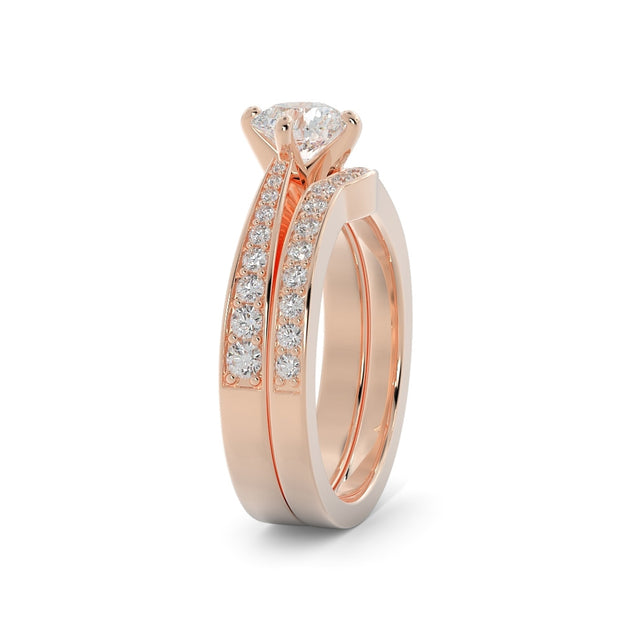 1 ¼ CT TW 14k <strong>Rose Gold</strong> Lab-Grown Diamond Vintage Bridal Set
