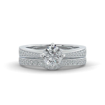1 ¼ CT TW 14k <strong>White Gold</strong> Lab-Grown Diamond Vintage Bridal Set