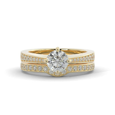 1 ¼ CT TW 14k <strong>Yellow Gold</strong> Lab-Grown Diamond Vintage Bridal Set