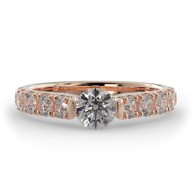 1 ¼ CT TW 14k <strong>Rose Gold</strong> Cathedral Lab-Grown Diamond Engagement Ring