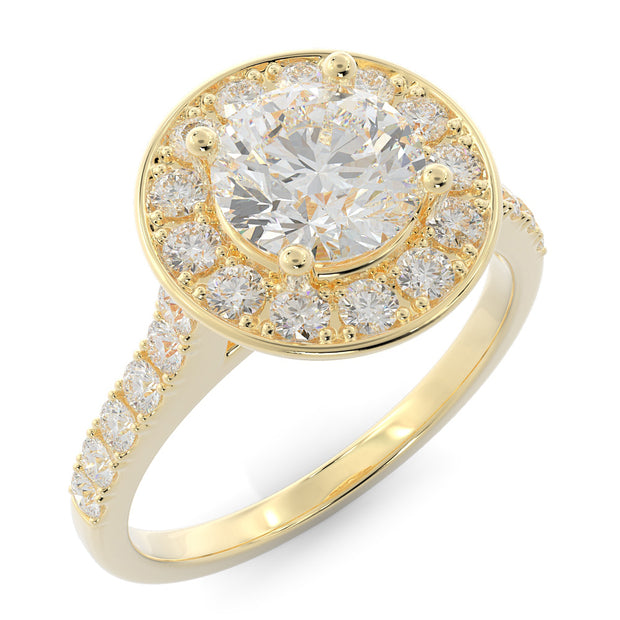 Halo Lab-Grown Diamond Engagement Ring - yellow gold