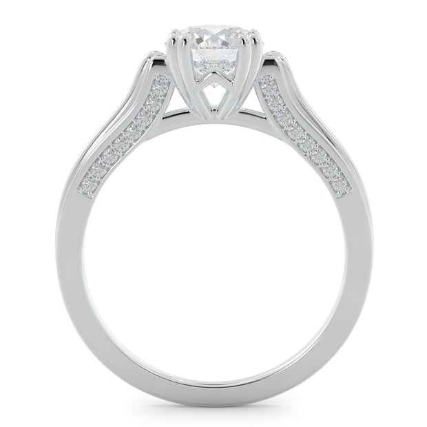1 ⅙ CT TW 14k High Polished <strong>White Gold</strong> Lab-Grown Diamond Engagement Ring