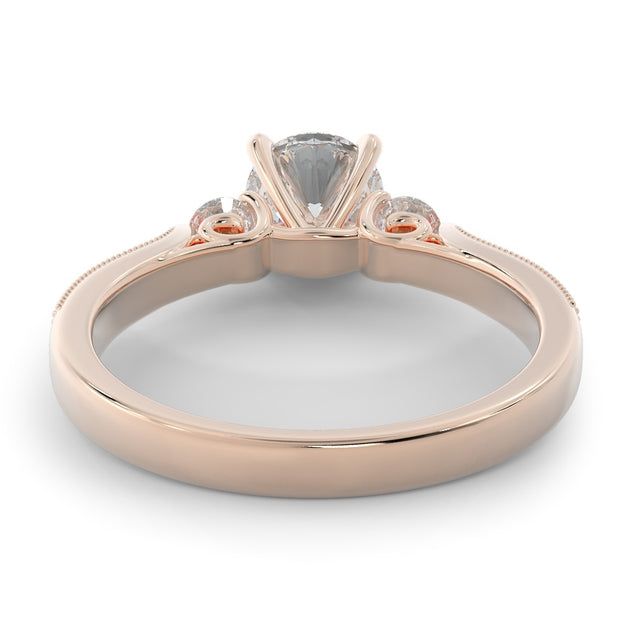 1 CT TW 14k <strong>Rose Gold</strong> Three Stone Plus Lab-Grown Diamond With Side Stones Engagement Ring