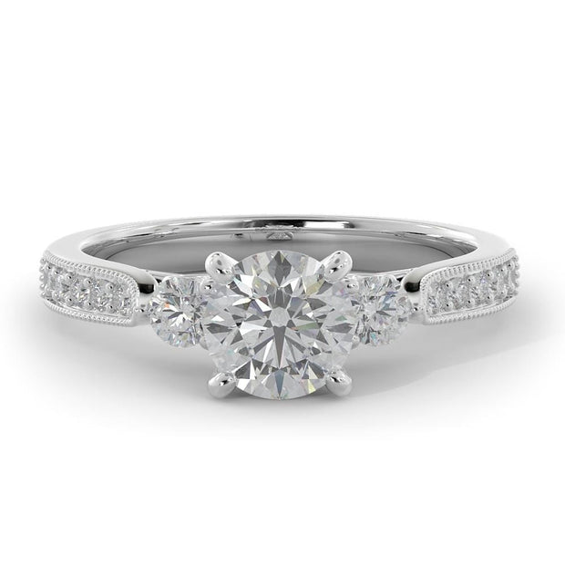 1 CT. TW 14k Three Stone Plus Lab-Grown Diamond With Side Stones Engagement Ring