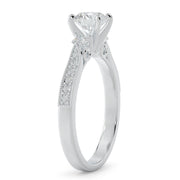 1 CT TW 14k <strong>White Gold</strong> Three Stone Plus Lab-Grown Diamond With Side Stones Engagement Ring