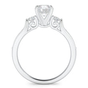 1 CT. TW 14k White Gold Three Stone Plus Lab-Grown Diamond With Side Stones Engagement Ring