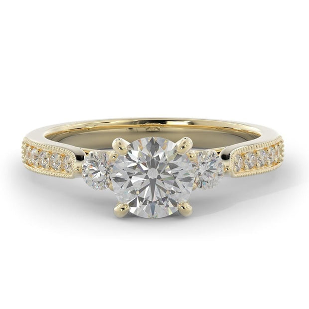 1 CT. TW 14k Yellow Gold Three Stone Plus Lab-Grown Diamond With Side Stones Engagement Ring