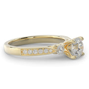 1 CT TW 14k <strong>Yellow Gold</strong> Three Stone Plus Lab-Grown Diamond With Side Stones Engagement Ring