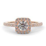 ⅝ CT TW 14k <strong>Rose Gold</strong> Square Halo Lab-Grown Diamond Engagement Ring