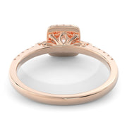5/8 CT. TW 14k Rose Gold Square Halo Lab-Grown Diamond Engagement Ring