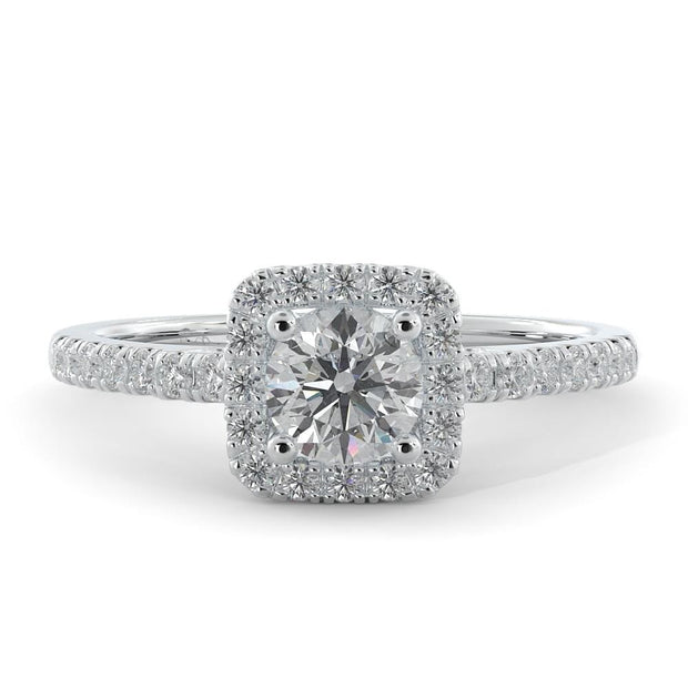 ⅝ CT TW 14k <strong>White Gold</strong> Square Halo Lab-Grown Diamond Engagement Ring