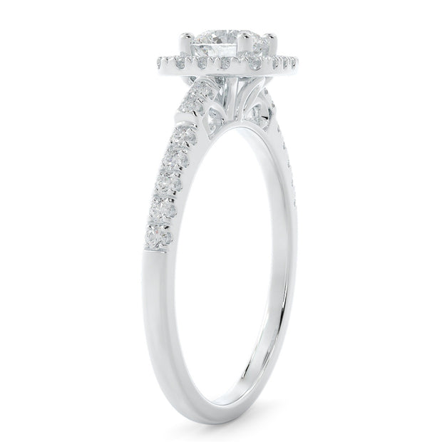 5/8 CT. TW 14k White Gold Square Halo Lab-Grown Diamond Engagement Ring