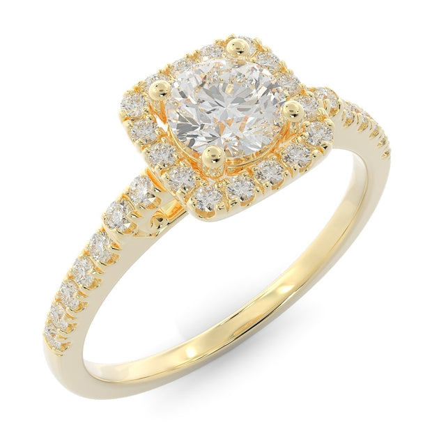 ⅝ CT TW 14k <strong>Yellow Gold</strong> Square Halo Lab-Grown Diamond Engagement Ring