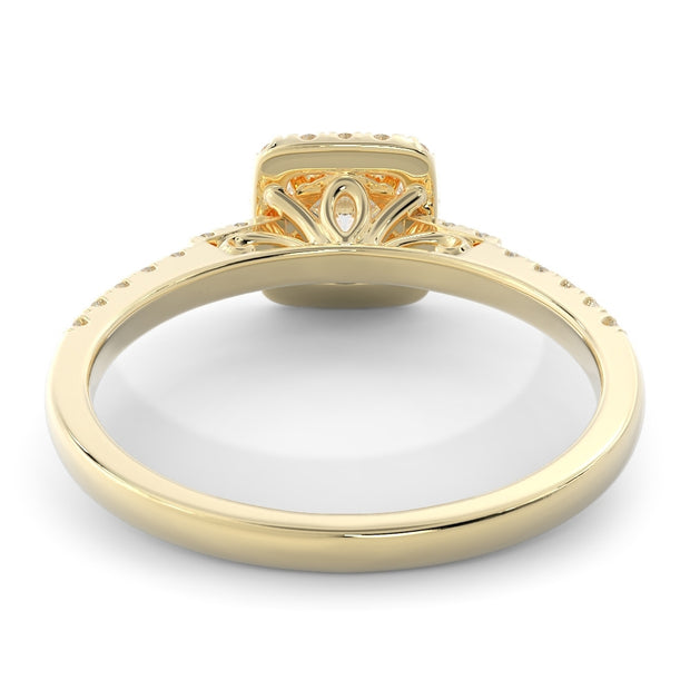 5/8 CT. TW 14k Yellow Gold Square Halo Lab-Grown Diamond Engagement Ring