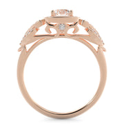 1 CT TW 14k <strong>Rose Gold</strong> European Inspired Lab-Grown Diamond Halo Engagement Ring