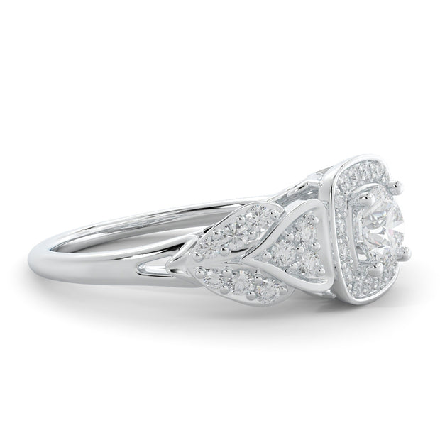 1 CT TW 14k <strong>White Gold</strong> European Inspired Lab-Grown Diamond Halo Engagement Ring