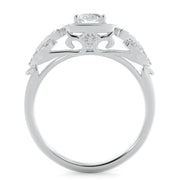1 CT. TW 14k White Gold European Inspired Lab-Grown Diamond Halo Engagement Ring