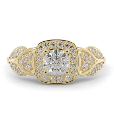1 CT TW 14k <strong>Yellow Gold</strong> European Inspired Lab-Grown Diamond Halo Engagement Ring