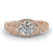 1 CT TW 14k <strong>Rose Gold</strong> Open Leaf Design Lab-Grown Diamond Engagement Ring