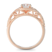 1 CT. TW 14k Rose Gold Open Leaf Design Lab-Grown Diamond Engagement Ring
