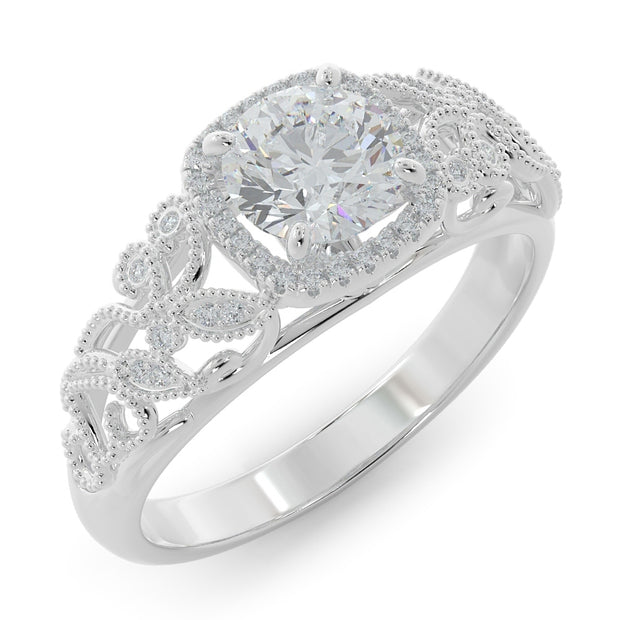 1 CT. TW 14k Open Leaf Design Lab-Grown Diamond Engagement Ring