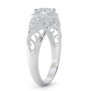 1 CT TW 14k <strong>White Gold</strong> Open Leaf Design Lab-Grown Diamond Engagement Ring