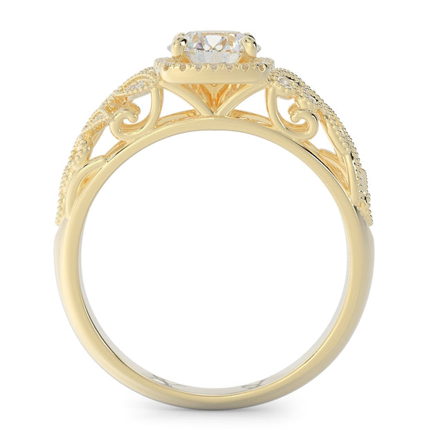 1 CT TW 14k <strong>Yellow Gold</strong> Open Leaf Design Lab-Grown Diamond Engagement Ring