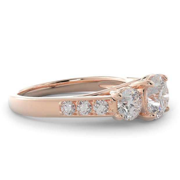 2 CT TW 14k <strong>Rose Gold</strong> Three Stone Double Plus Lab-Grown Diamond Engagement Ring