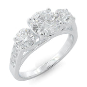 2 CT. TW 14k Gold Three Stone Double Plus Lab-Grown Diamond Engagement Ring