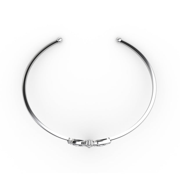 ½ CT TW <strong>Sterling Silver</strong> Lab-Grown Diamond Clover Cuff Bracelet