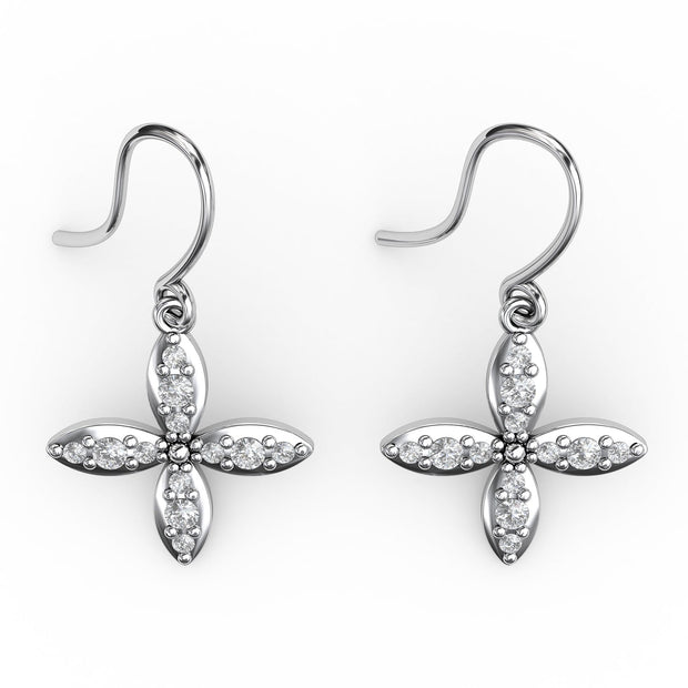 ⅜ CT TW <strong>Sterling Silver</strong> Lab-Grown Diamond Clover Dangle Earrings