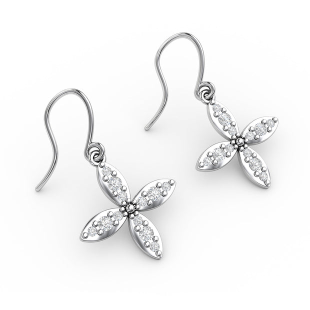 3/8 CT. TW Sterling Silver Lab-Grown Diamond Clover Dangle Earrings