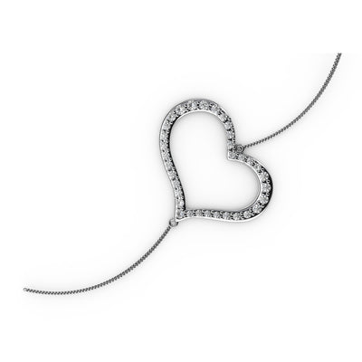 ½ CT TW <strong>Sterling Silver</strong> Lab-Grown Diamond Open Heart Bracelet