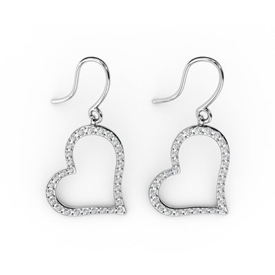 3/4 CT. TW Sterling Silver Lab-Grown Diamond Open Heart Dangle Earrings
