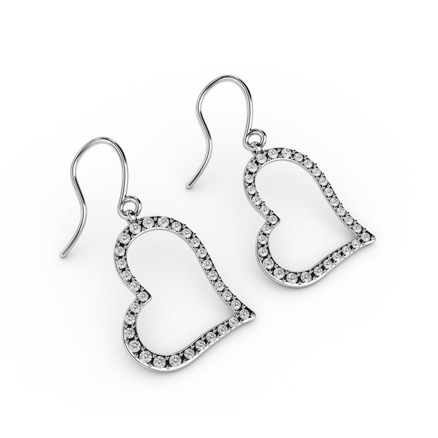 ¾ CT TW <strong>Sterling Silver</strong> Lab-Grown Diamond Open Heart Dangle Earrings