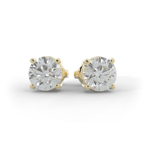 1 CT TW 14k <strong>Yellow Gold</strong> Lab-Grown Diamond Stud Earrings