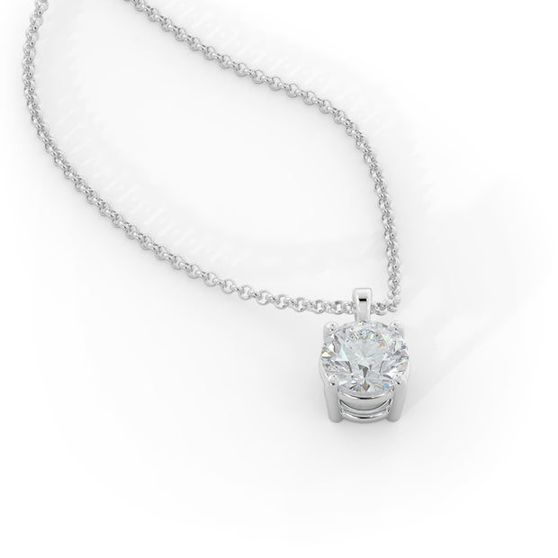 1 ½ CT TW 14k <strong>White Gold</strong> Lab-Grown Diamond Solitaire Necklace