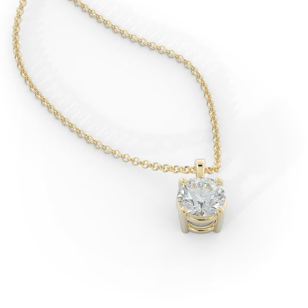 1 CT TW 14k <strong>Yellow Gold</strong> Lab-Grown Diamond Solitaire Necklace