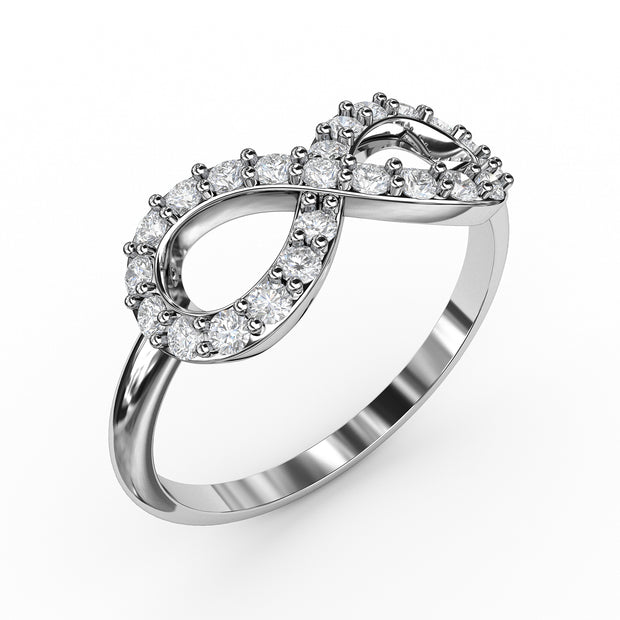 ¼ CT TW <strong>Sterling Silver</strong> Lab-Grown Diamond Infinity Ring