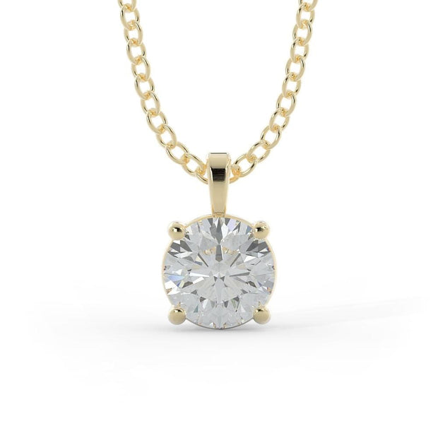 2 CT TW 14k <strong>Yellow Gold</strong> Lab-Grown Diamond Solitaire Necklace