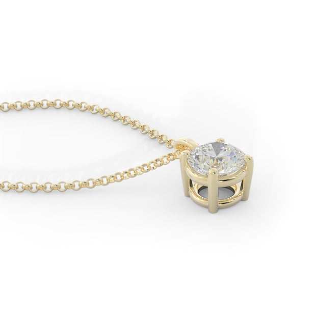 1 ½ CT TW 14k <strong>Yellow Gold</strong> Lab-Grown Diamond Solitaire Necklace