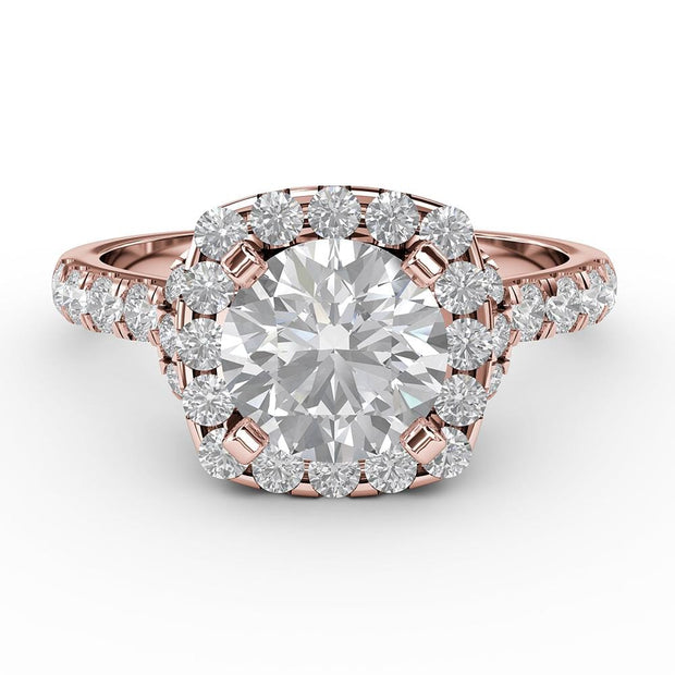 1 ¾ CT TW 14k <strong>Rose Gold</strong> Lab-Grown Diamond Halo Gallery Ring