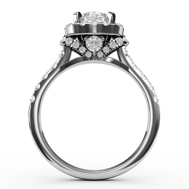 1 ¾ CT TW 14k <strong>White Gold</strong> Lab-Grown Diamond Halo Gallery Ring