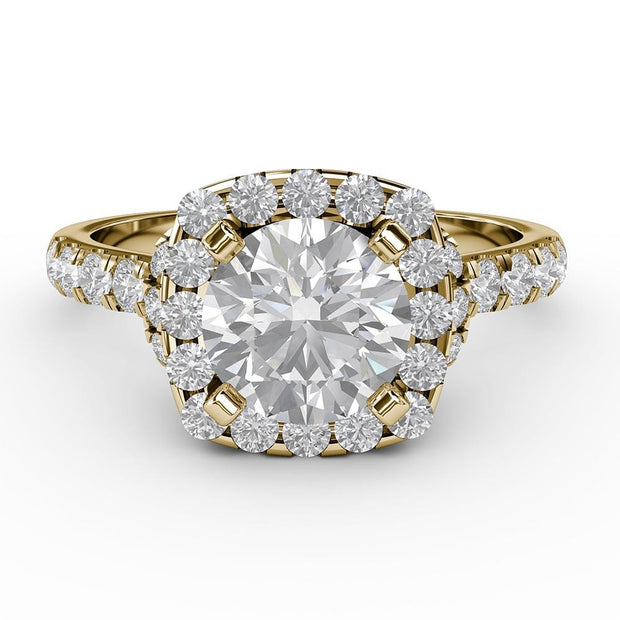 1 ¾ CT TW 14k <strong>Yellow Gold</strong> Lab-Grown Diamond Halo Gallery Ring