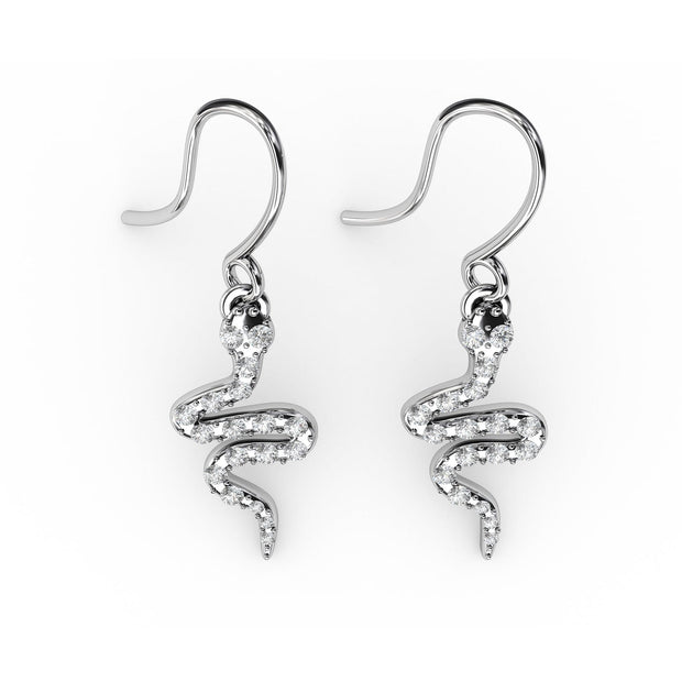 ⅓ CT TW <strong>Sterling Silver</strong> Lab-Grown Diamond Snake Dangle Earrings
